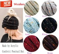Fashion 14color ponytail knit hat fashion girl women winter ...
