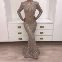 Real Pictures 2018 Vestidos de noite de cristal Dark Champagne O-neck Prom Dresses Long Sleeve Shiny Sliver Yousef Aljasmi Mermaid Party BA8106