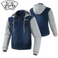 SSPEC Moto Vintage Denim Veste Hommes À Capuche Vestes Veste Moto Homme Equitation Moto Casual Vêtements Avec Protection Manteau