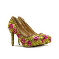 2018 Золотой горный хрусталь свадебные туфли с розовым кристаллом ручной работы великолепная партия выпускного вечера обувь выпускного вечера насосы большой размер 45