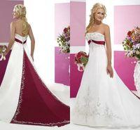 Красные и белые свадебные платья 2018 старинные ретро пятно кружева вышивка без бретелек без спинки бешеный пляж Beach Bridal сад свадебное платье