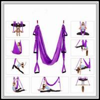 18 colores 250 * 150cm Air Flying Yogas Hamaca Aérea Yoga Hamaca Cinturón Fitness Swing Hamock con 440LB Cargar CCA9761 15pcs