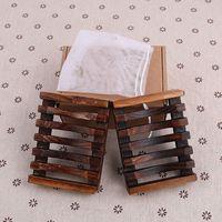 2 adet / takım Vintage Ahşap Sabunluk Plaka Tepsi Tutucu Ahşap Sabunluk Sahipleri Bathroon Aksesuarları Duş El Yıkama Perakende Kutusu WX9-446