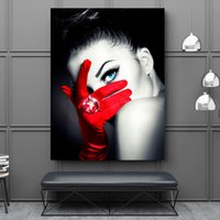 Makeup fashion wall art canvas painting black red art pictur...