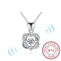 Popular moda clásico giran bailando CZ piedra 925 corazón de plata collar colgante para mujeres regalo de la joyería de moda para el amor