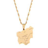 Stainless Steel Gold Nigeria Map Pendant Necklaces Country M...