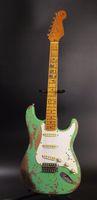 Custom Shop Strat Ocaster mano pesante RELIQUIA afflitto ST Vintage Green Grass chitarra elettrica Faded effetto vintage giallo collo