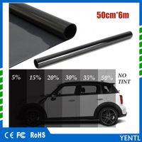 freies Verschiffen yentl Großverkauf 50cm x 6M schwarze Glastönungs Shade Film VLT 5% Auto Auto-Haus-Rollen PLY Auto Glass Sonnenschutz