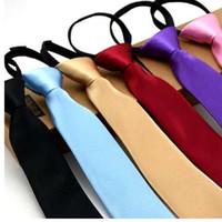Предварительно связали шеи галстук мужские узкие молнии галстуки красный черный синий сплошной цвет жаккард тонкий узкий жених платье партии галстук