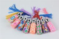 200 adet / grup 5 ml Mini Boş Fimo Kil Parfüm Şişeleri Cam Uçucu yağlar Için Rulo şişeler Püsküller Cam Parfüm Şişesi Toptan