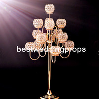 세계의 결혼식 스탠드 이벤트 테이블 높이 중앙 장식품 은색 또는 금색 크리스탈 금속 공 촛불 holde best00036