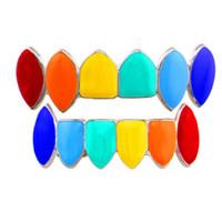 Hip Hop Oro Tekashi 69 dientes del arco iris Grillz TopBottom coloridas dientes Parrillas Dental Vampiro de Halloween Set Grill