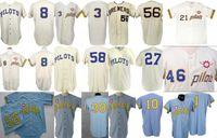 """Clinton Pilots 1969 Home Jersey 100'inci Yıldönümü Joe Schultz """"Nadir 1 Yıl Stil"""" Seattle Pilotlar Retro Özel Beyzbol Formaları S-XXXL"""