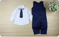 Gentleman Kids Toddler Infant Baby Boys Formal Suit Tops Shirt Waistcoat Tie Pants 4PCS Set Clothes