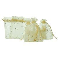 Mjartoria 200pcs bege claro Sequins Organza Saco Wedding favores presente de doces Xmas Bolsas Organizador para a jóia sacos de embalagem