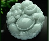 rtified Deep Green Natural Grade A Jade jadeite Happy Buddha...