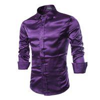 جديد الحرير الحرير قميص الرجال قميص أوم 2017 أزياء رجالي سليم صالح كم طويل مضاهاة الحرير زر أسفل القمصان RMQ667