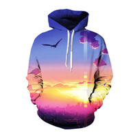 Wholesale Pullover Hoodie Print Beautiful Beach Scenery Swea...