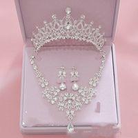 Conjuntos de joyería nupcial de tres piezas pendiente de la corona collar de la joyería nupcial Bling Bling accesorios de la boda Venta barata accesorios del partido de las señoras