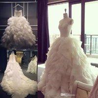 2019 Ruched REAL FOTOS Vestidos De Casamento Flouncing Saudita Árabe Lace Top Vestidos de Noiva Babados Vestido de Noiva de Alta Qualidade Igreja Praia