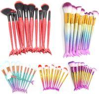 10 unids Mermaid Fish Tail Maquillaje conjunto de pinceles fundación Blending Powder Eyeshadow Contorno Corrector Blush Cosmetic Beauty Make Up Tool Kit