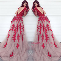 Fabulous Sheer Keyhole Backless Red Appliqued Evening Gowns ...