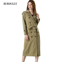 BURDULLY إنجلترا نمط الخريف طويل خندق معطف المرأة عارضة الشتاء 2018 مزدوجة الصدر سترة واقية قميص نوعية جيدة