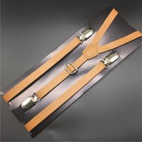 4 pcs Tan Leather Suspenders Camel brown Skinny suspenders B...