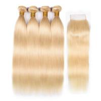 SIYUSI Brasiliano Dritto Tessuto per capelli umani 3 Bundles 613 Blonde Bionde Capelli Umani Bundles con chiusura Miele Platinum Vergine Capelli