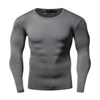 패션 슬림 빠른 건조 압축 셔츠 긴 소매 T 셔츠 플러스 사이즈 피트니스 의류 단색 Colorquick 건조 보디 크로스 핏
