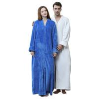 Extra Longo Inverno Quente Kimono Roupão de Banho Outono Mulheres Homens de Flanela Coral Fleece Roupão de Banho Confortável Roupão