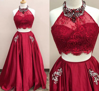 Dark Red Two Piece Prom Dresses Crystal Beaded Lace Satin Ha...