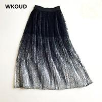 WKOUD Kadın Uzun Etekler Vintage Bronzlaştırma Dantel Patchwork Pileli Etek Bayanlar Mesh Yaz Orta Buzağı Yüksek Bel Etekler SK8002