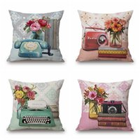 Radio Camera Cushion Cover Flower Pillow Cover Pink and Blue...