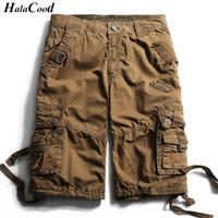 Halacood Fashion Sexy Qualità New Summer Vitello-Lunghezza Cargo Mens Pantaloncini di cotone Multi-Pocket solido maschile Puls dimensioni Beach Shorts Grasso