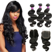 Bellqueen 8A human hair bundles with 4x4 Lace closure brazil...
