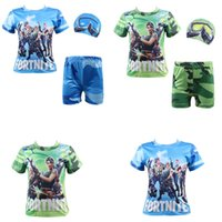 Game Fortnite print children Swimwear teenager Swim shirt+ Tr...