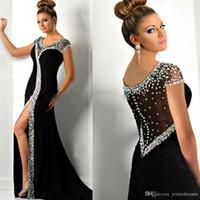 Robes de soirée formelles noires 2018 Mode Sexy Scoop Cristal Fente Latérale Sirène Robes De Bal Voir Que Backless