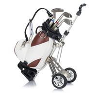 Porte-stylos de golf original avec support pour sac de golf, porte-stylo pour chariot de transport pour sac de golf, caddy de golf miniature avec 3 stylos en métal et porte-sac en PU