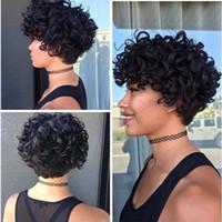 180density tam Kinky Kıvırcık Ünlü Kısa insan saçı siyah kadınlar için moda tarzı tam hiçbiri dantel peruk peruk