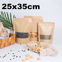 50pcs 25x35cm Zip Lock Kraft Bag with Frosted Window bolsas ...