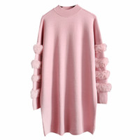 Real Fur Designer Christmas Sweater Pink Fur Sleeve long Swe...