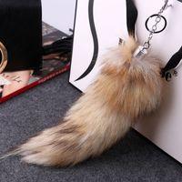 Abendessen riesige flauschige Fox Fur Tail Schlüsselbund Schlüsselbund schwarz gelbe Fox Tail Tassel Schlüsselanhänger Ring Haken Handtasche Zubehör natürliche Farbe