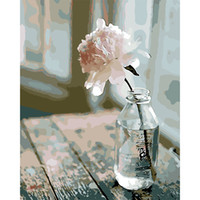 Diy Malen nach Zahlen handgemalte Leinwand Ölgemälde Bild von Blume im Glas Färbung von Zahlen Leinwand Kunst Dekoration