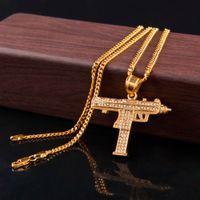 Monili del pendente della pistola Hip Hop collane per donne degli uomini di colore oro ghiaccia fuori strass fascino del pendente oro cubano catena Dichiarazione collana