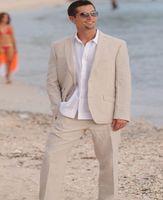 여름 맞춤형 정장 재킷 휴가 2 조각 턱시도 가벼운 베이지 웨딩 정장 재킷 + 바지를위한 최신 린넨 남자 정장