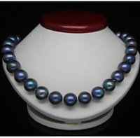18' ' 10- 11MM TAHITIAN BLACK BLUE PEARL NECKLACE 14...