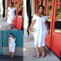 Charmant White Plus Taille Pal Robes de bal à l'épaule Courtes Robes de soirée manches à manches bon marché Longueur du thé Dress Sans retour