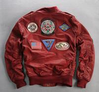 БОРЬБА 41 красных AVIREXFLY подлинные кожаные курток с аппликацией бейсбол костюм Флокированием овчины полет бомбардировщик куртки
