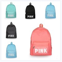 Travel Bags Pink Letter Backpack Women Girls Bag Nylon Top Q...